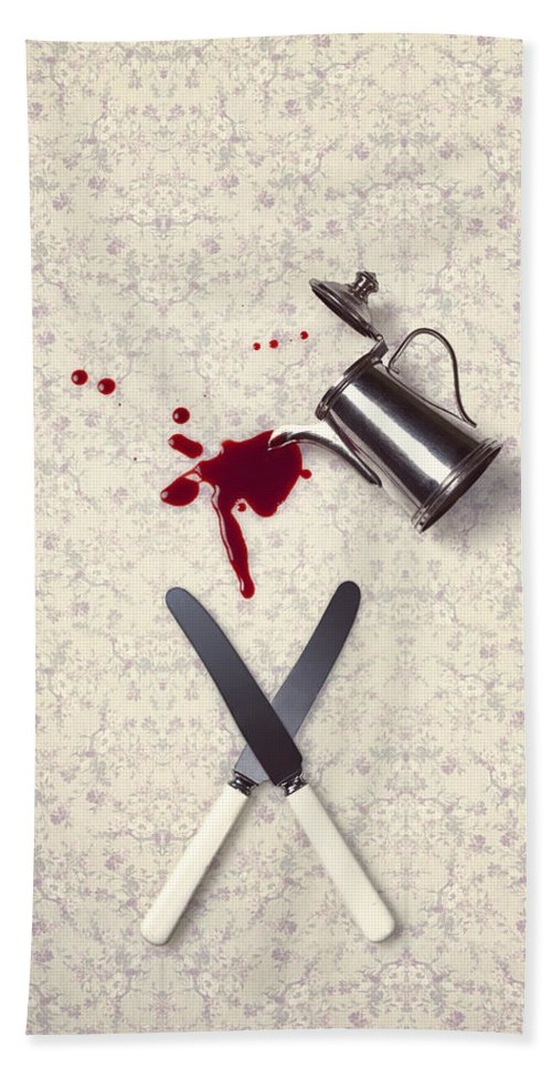 Knife Bath Sheet featuring the photograph Bloody Dining Table by Joana Kruse