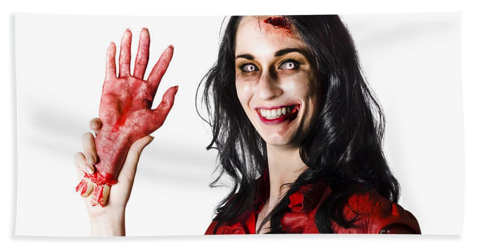 Awful Bath Towel featuring the photograph Bloody Zombie Woman With Severed Hand by Jorgo Photography - Wall Art Gallery