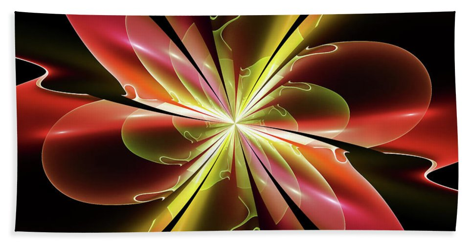 Fractal Bath Sheet featuring the digital art Bloom With Red by Deborah Benoit