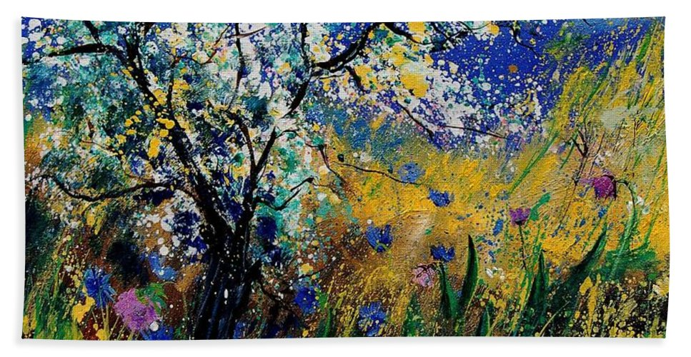 Spring Hand Towel featuring the painting Blooming Appletree by Pol Ledent