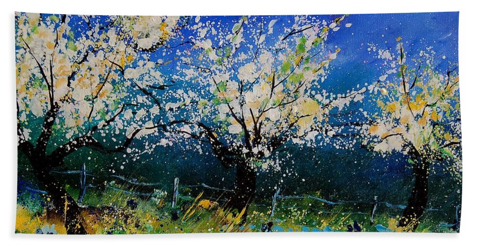 Landscape Bath Towel featuring the painting Blooming Appletrees 56 by Pol Ledent