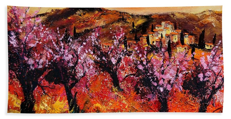 Provence Cherrytree Summer Spring Hand Towel featuring the painting Blooming cherry trees by Pol Ledent