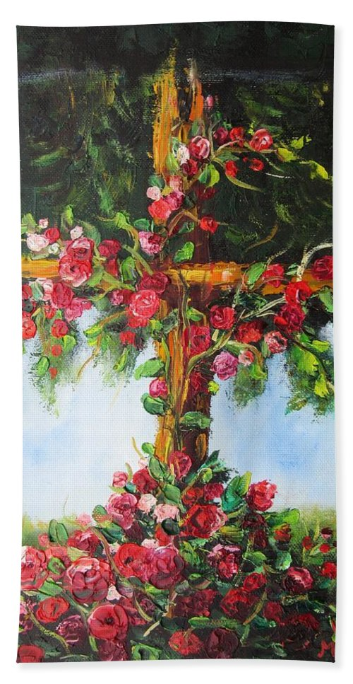 Cross Bath Towel featuring the painting Blooming Cross by Vesna Martinjak