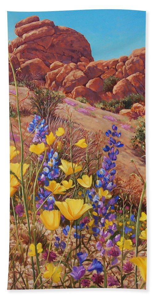 Desert Bath Sheet featuring the painting Blooming Desert by Johanna Girard