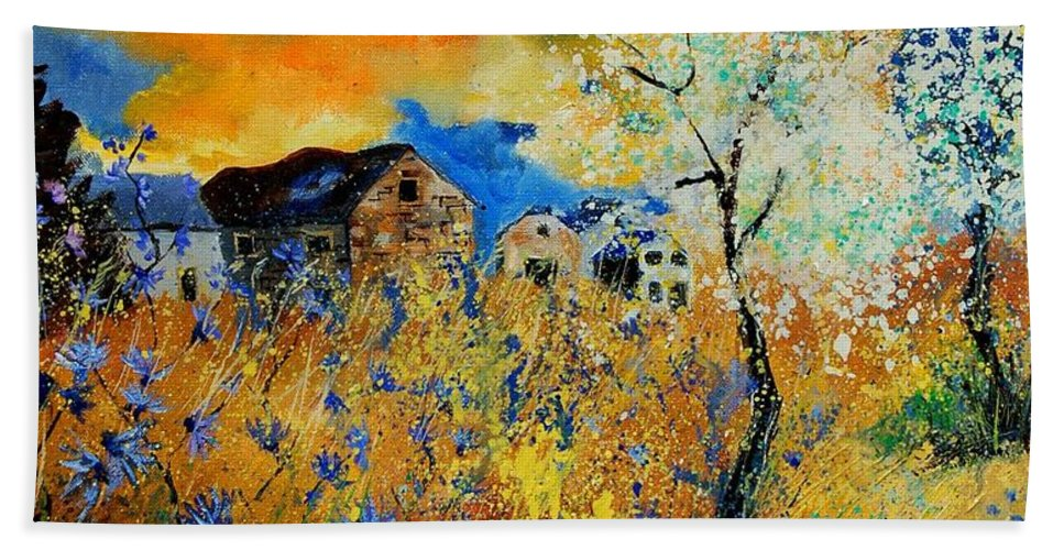 Poppies Bath Towel featuring the painting Blooming Trees by Pol Ledent