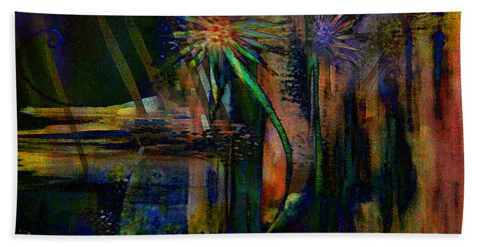 Abstract Hand Towel featuring the digital art Blooms And Coils by Tony Macelli