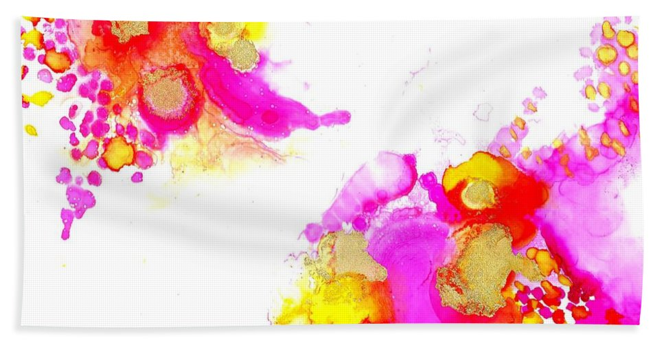 Bath Sheet featuring the painting Blooms1 by Lisa Marrelli