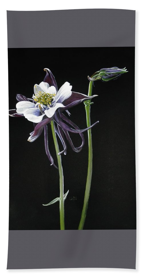 Columbine Hand Towel featuring the painting Blossom by Barbara Keith