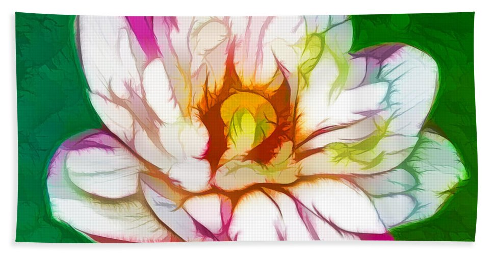 Blossom Lotus Flower Hand Towel featuring the painting Blossom Lotus Flower by Jeelan Clark
