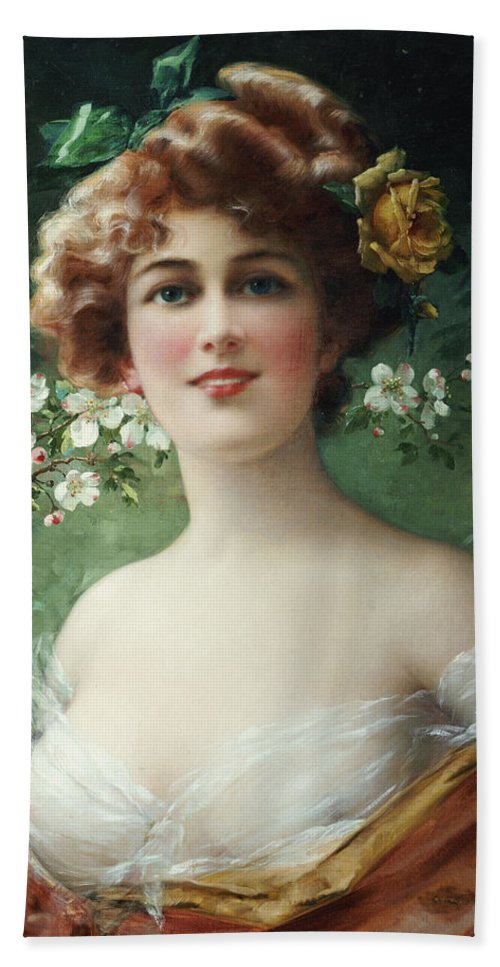 Blossoming Beauty (oil On Canvas) By Emile Vernon (1872-1919) Female; Beauty; Blossom; Blossoming; Flowers; Half Length; Smiling; Bust Bath Sheet featuring the painting Blossoming Beauty by Emile Vernon