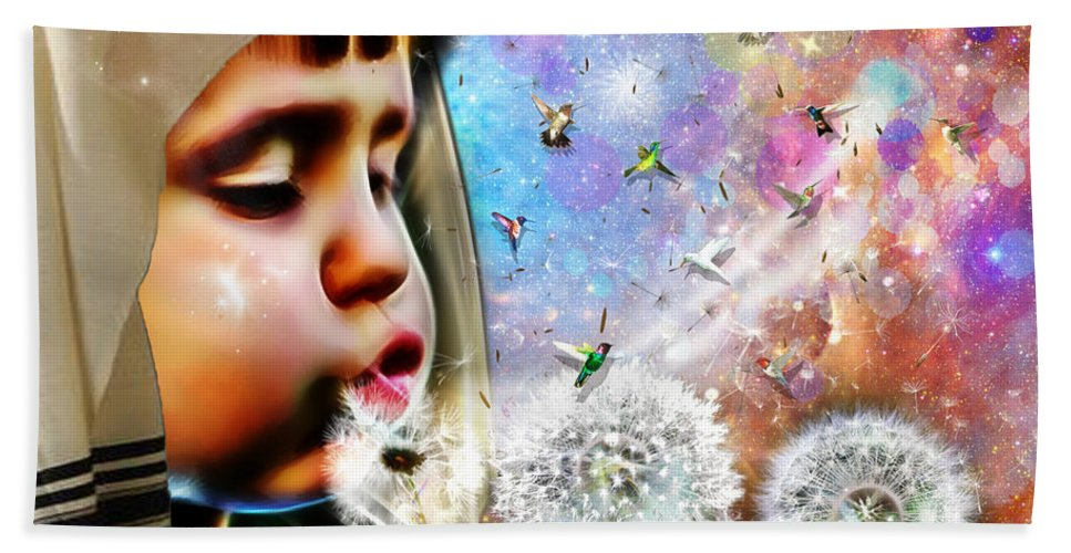 Blessings Bath Sheet featuring the digital art Blowing Blessings by Dolores Develde