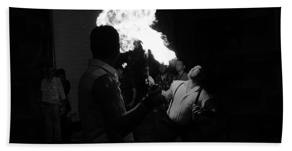 Fire Hand Towel featuring the photograph Blowing Fire by David Lee Thompson