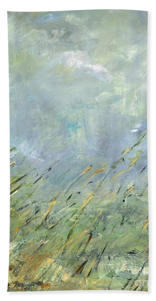 Landscapes Bath Sheet featuring the painting Blowing In The Wind by Frances Marino