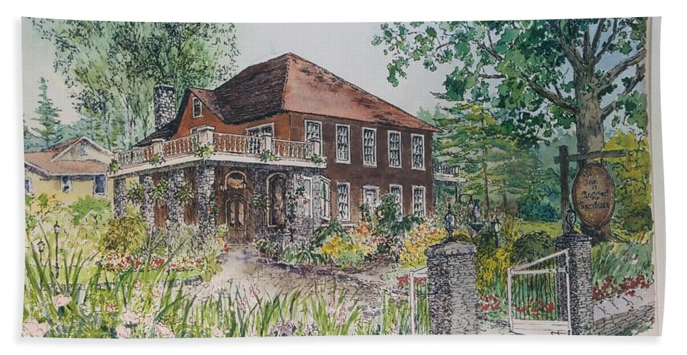 Print Of Blowing Rock Building Bath Sheet featuring the painting Blowing Rock Inn by Maggie Clark