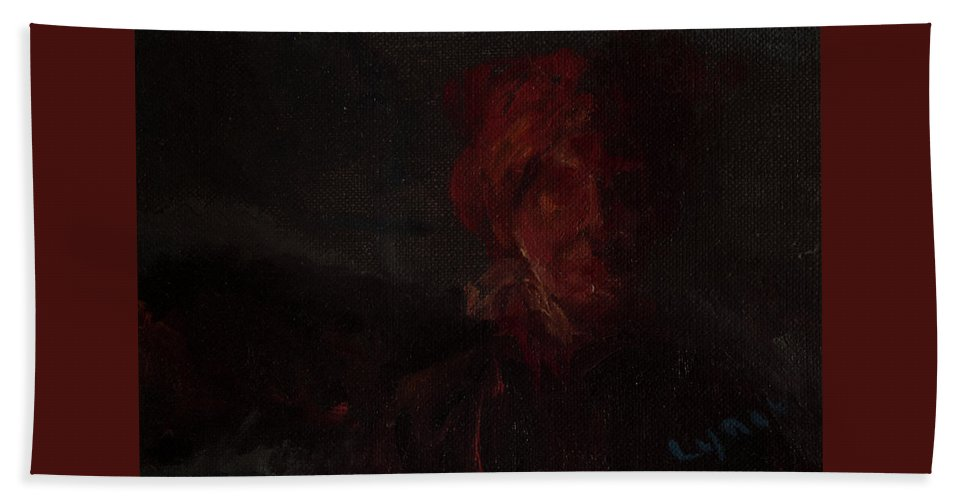 Portrait Hand Towel featuring the painting Blown by Lynne Guess