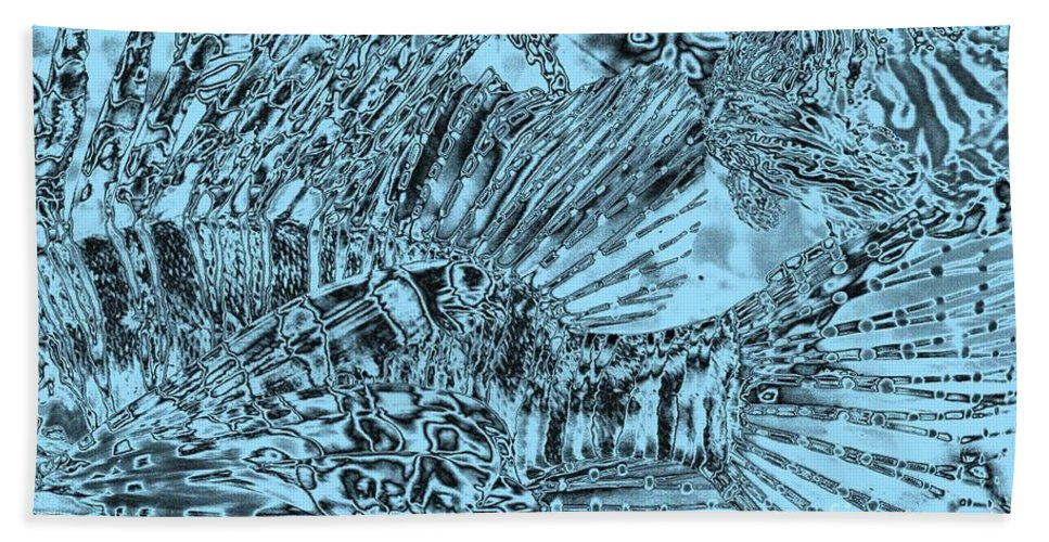 Abstract Art Bath Sheet featuring the photograph Blue Abstract - Lionfish by Carol Groenen