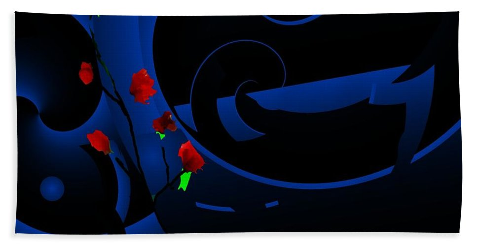 Abstract Hand Towel featuring the digital art Blue Abstract by David Lane