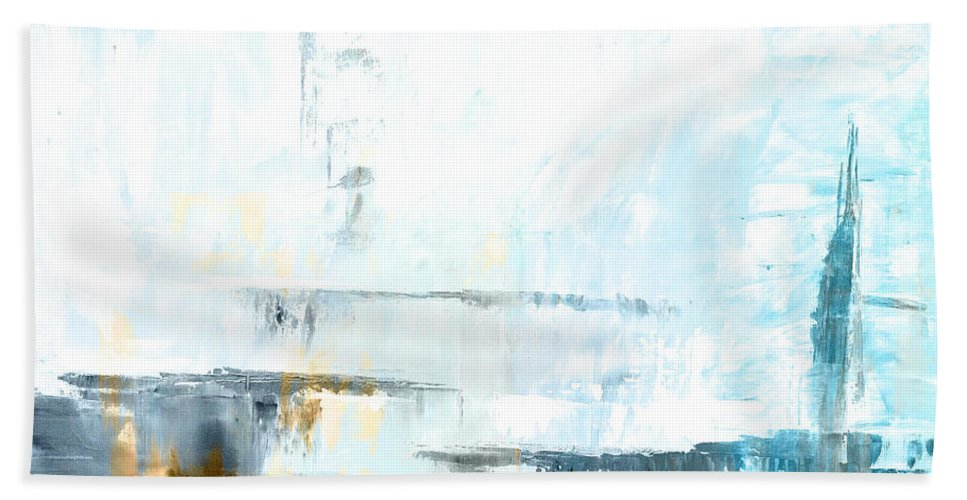 Blue Bath Sheet featuring the painting Blue Abstract 12m1 by Voros Edit