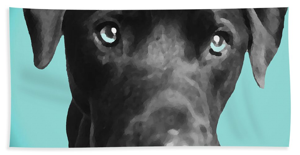 dog Art Bath Towel featuring the photograph Blue by Amanda Barcon