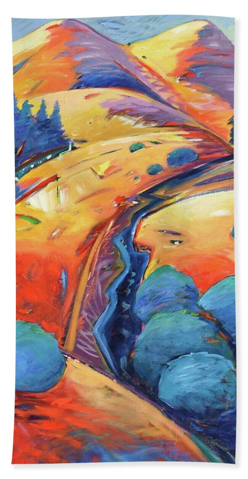 Hills Bath Towel featuring the painting Blue And Gold by Gary Coleman