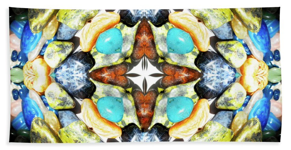 Creation Hand Towel featuring the mixed media Blue And Green Stones 4 by Jesus Nicolas Castanon