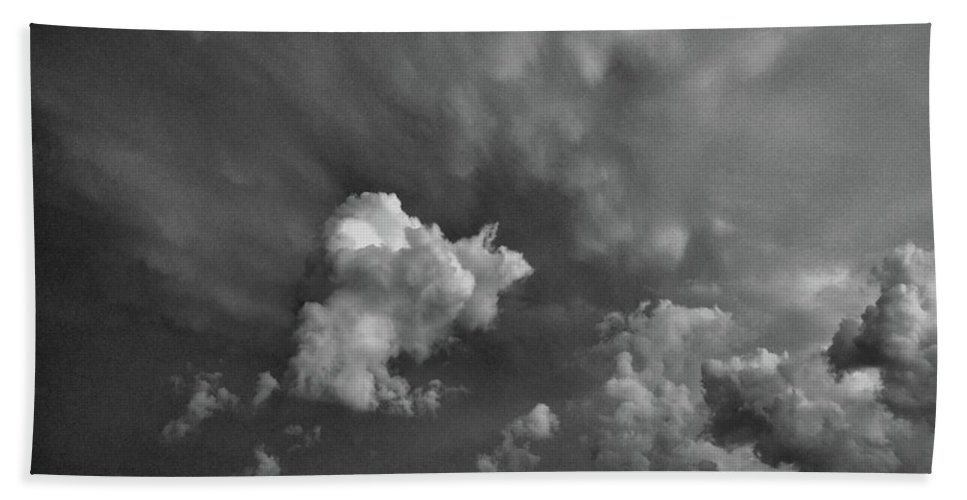 Black And White Bath Sheet featuring the photograph Blue And Pink Clouds In Black And White by Lyle Crump