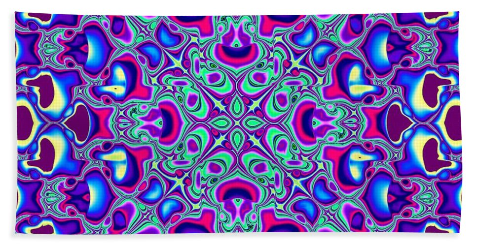 Wallpaper Hand Towel featuring the digital art Blue And Pink Wallpaper Fractal 71 by Rose Santuci-Sofranko