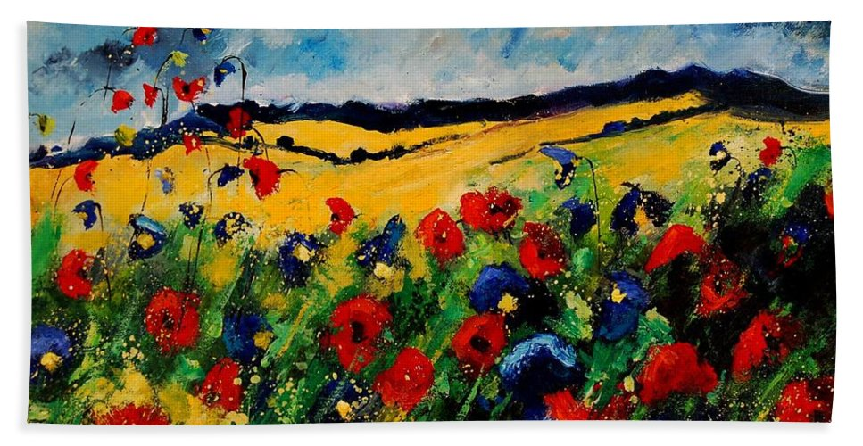 Poppies Hand Towel featuring the painting Blue And Red Poppies 45 by Pol Ledent