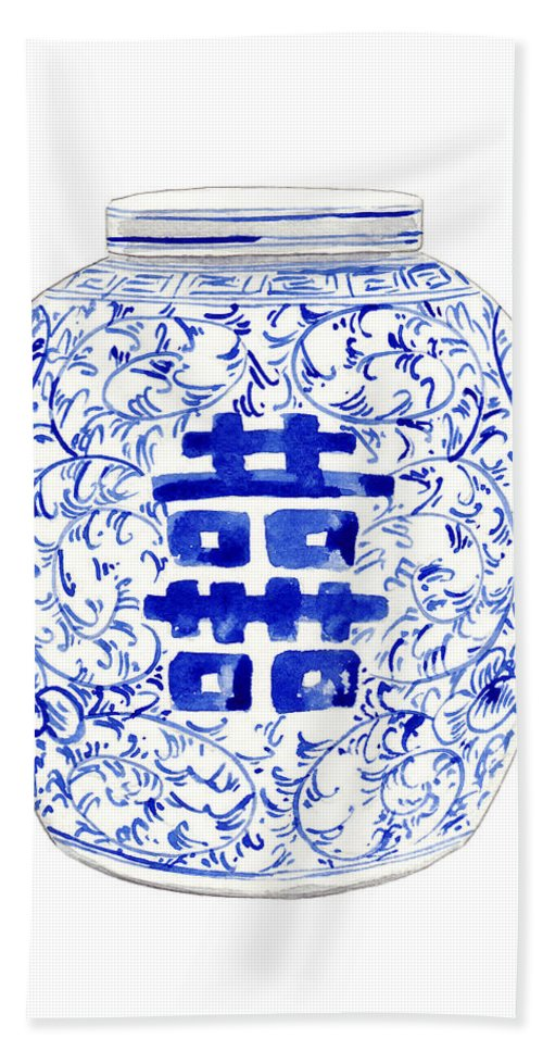 e5671a6fbc6 Blue And White China Hand Towel featuring the painting Blue And White  Ginger Jar Chinoiserie 8