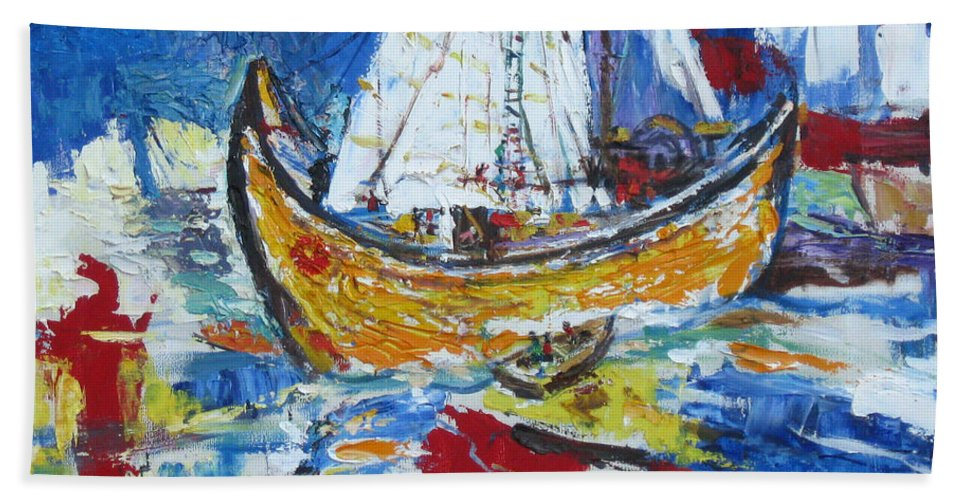 Boat Hand Towel featuring the painting Blue And White by Guanyu Shi
