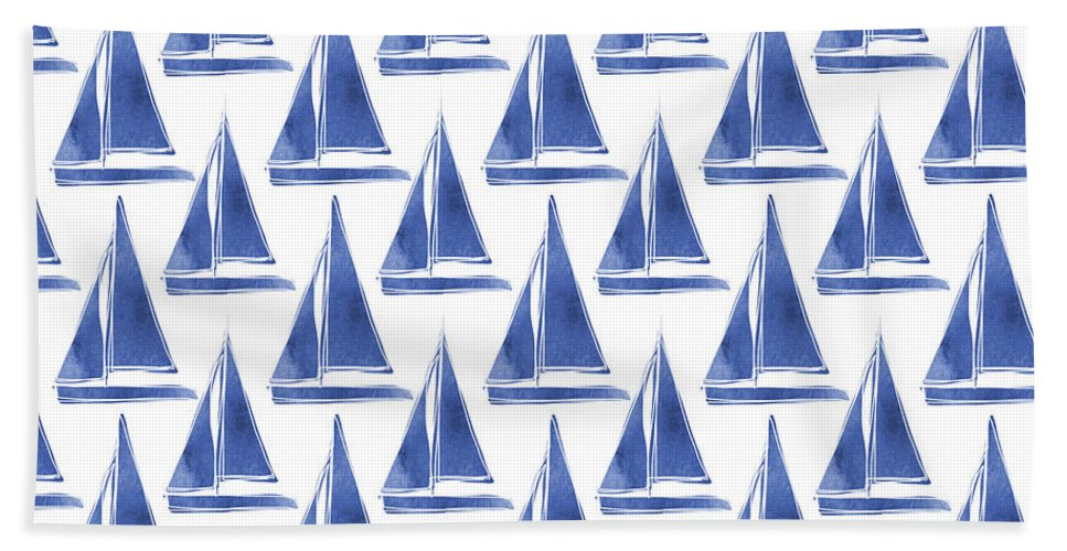 Boats Hand Towel featuring the digital art Blue and White Sailboats Pattern- Art by Linda Woods by Linda Woods