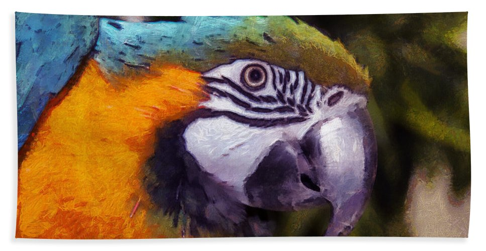 Blue Bath Sheet featuring the photograph Blue-and-yellow Macaw by Sergey Lukashin