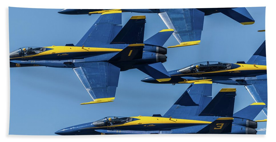 Blue Angels Hand Towel featuring the photograph Blue Angels by Abraham Schoenig