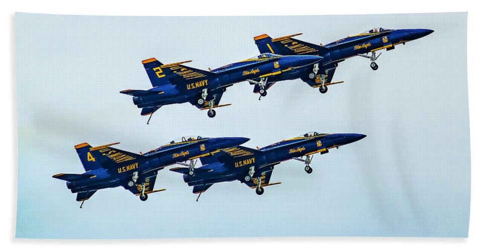 Air Hand Towel featuring the photograph Blue Angels Carrier Landing by Nick Zelinsky
