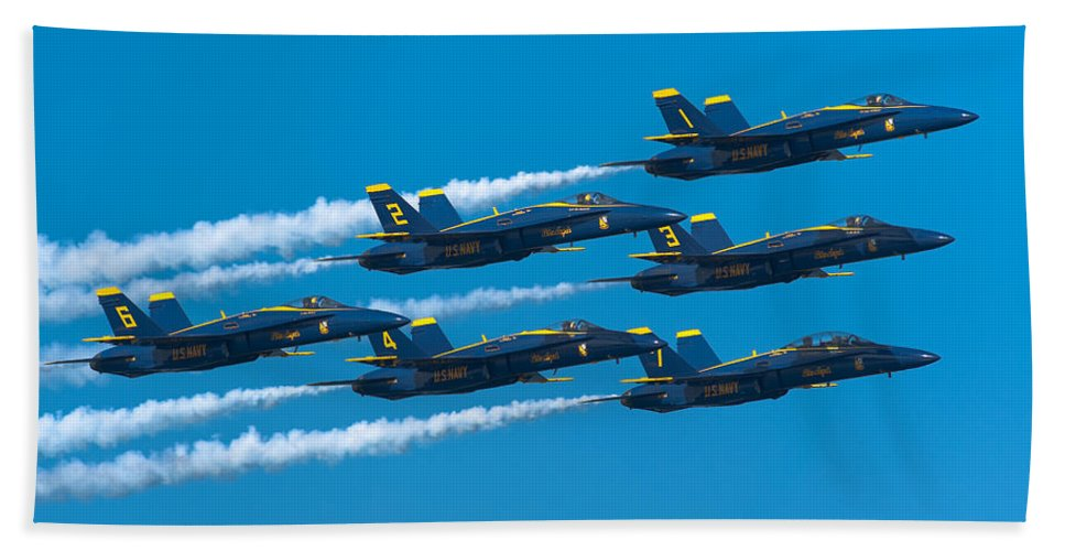 Us Navy Bath Sheet featuring the photograph Blue Angels by Sebastian Musial