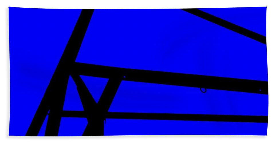 Blue Abstract Bath Sheet featuring the painting Blue Angle Abstract by Eric Schiabor