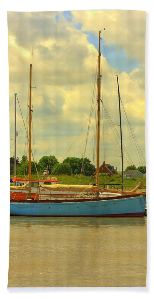 Barge Hand Towel featuring the photograph Blue Barge by Eric Wallis