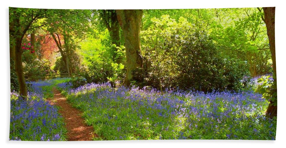 Spring Hand Towel featuring the photograph Blue Bells Flower by Elena Ivanova