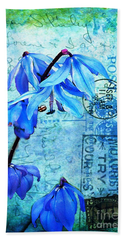 Flowers Bath Towel featuring the photograph Blue Bells On Vintage 1936 Postcard by Nina Silver