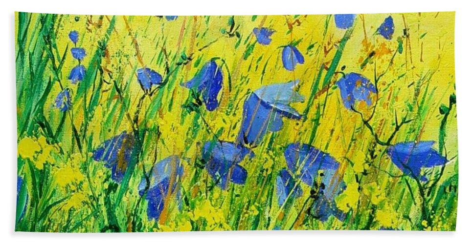 Poppies Bath Sheet featuring the painting Blue Bells by Pol Ledent