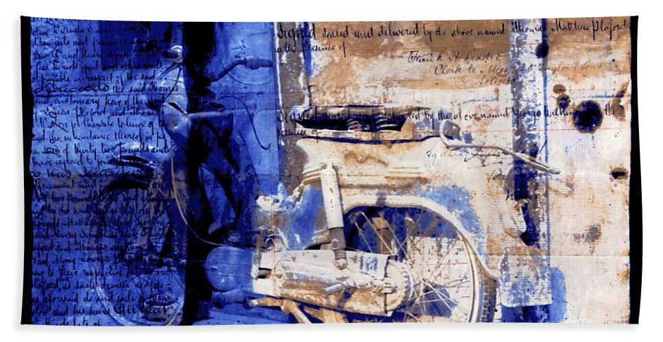 Blue Hand Towel featuring the photograph Blue Bike Abandoned India Rajasthan Blue City 2c by Sue Jacobi