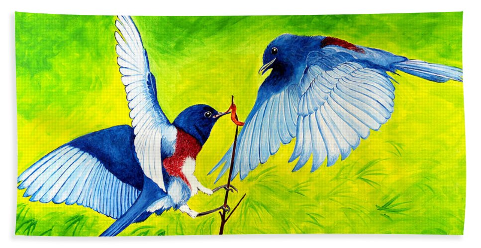 Bird Hand Towel featuring the painting Blue Birds by Marilyn Hilliard