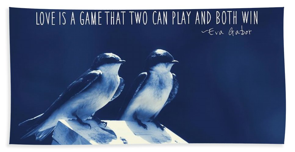 Blue Bath Sheet featuring the photograph Blue Birds Quotes by JAMART Photography
