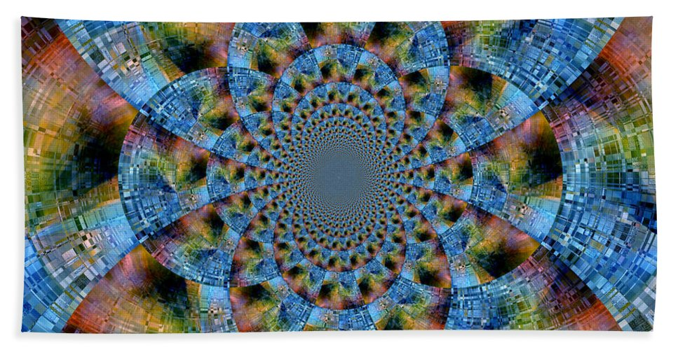Abstract Hand Towel featuring the digital art Blue Bling by Ruth Palmer