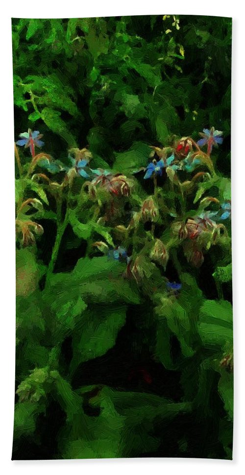Blossoms Bath Sheet featuring the painting Blue Blossoms By Moonlight by RC DeWinter