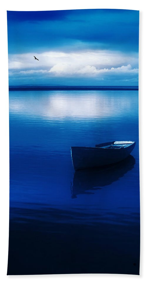 Boat Bath Sheet featuring the photograph Blue Blue Boat by Mal Bray