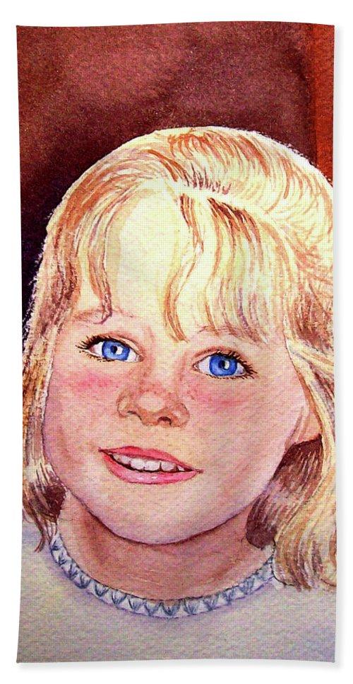 Girl Portrait Bath Sheet featuring the painting Blue Blue Eyes by Irina Sztukowski