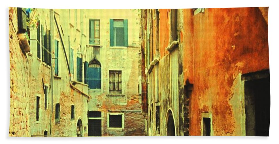 Venice Bath Towel featuring the photograph Blue Boat In Venice by Ian MacDonald