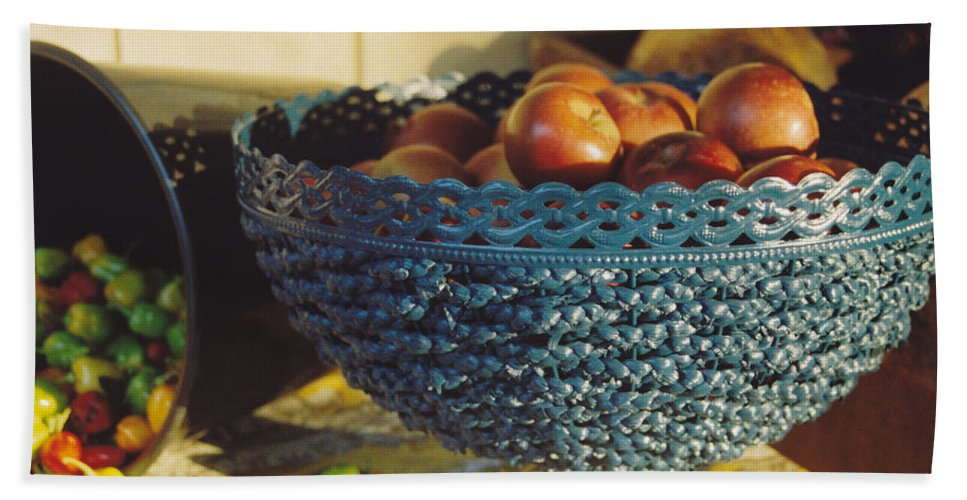 Still Life Bath Sheet featuring the photograph Blue Bowl by Jan Amiss Photography