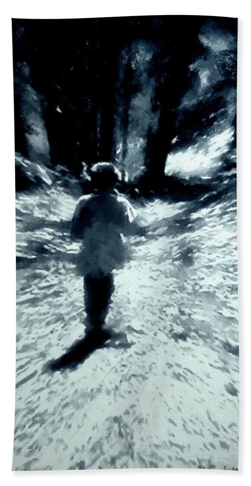 Blue Hand Towel featuring the painting Blue Boy Walking Into The Future by RC DeWinter